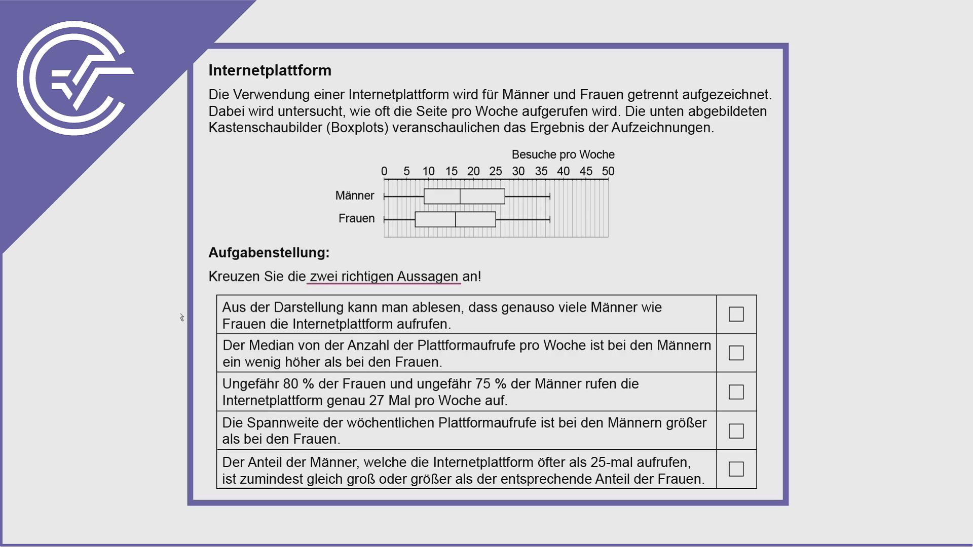 AHS Zentralmatura Aufgabe 19 - Boxplot