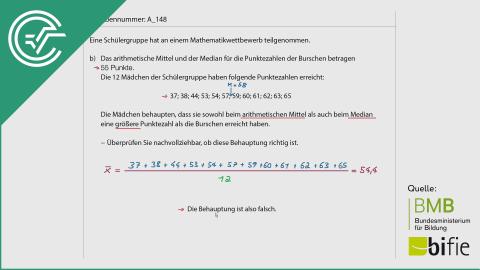 A_148 Mathematikwettbewerb b [Median + Arithmetisches Mittel]
