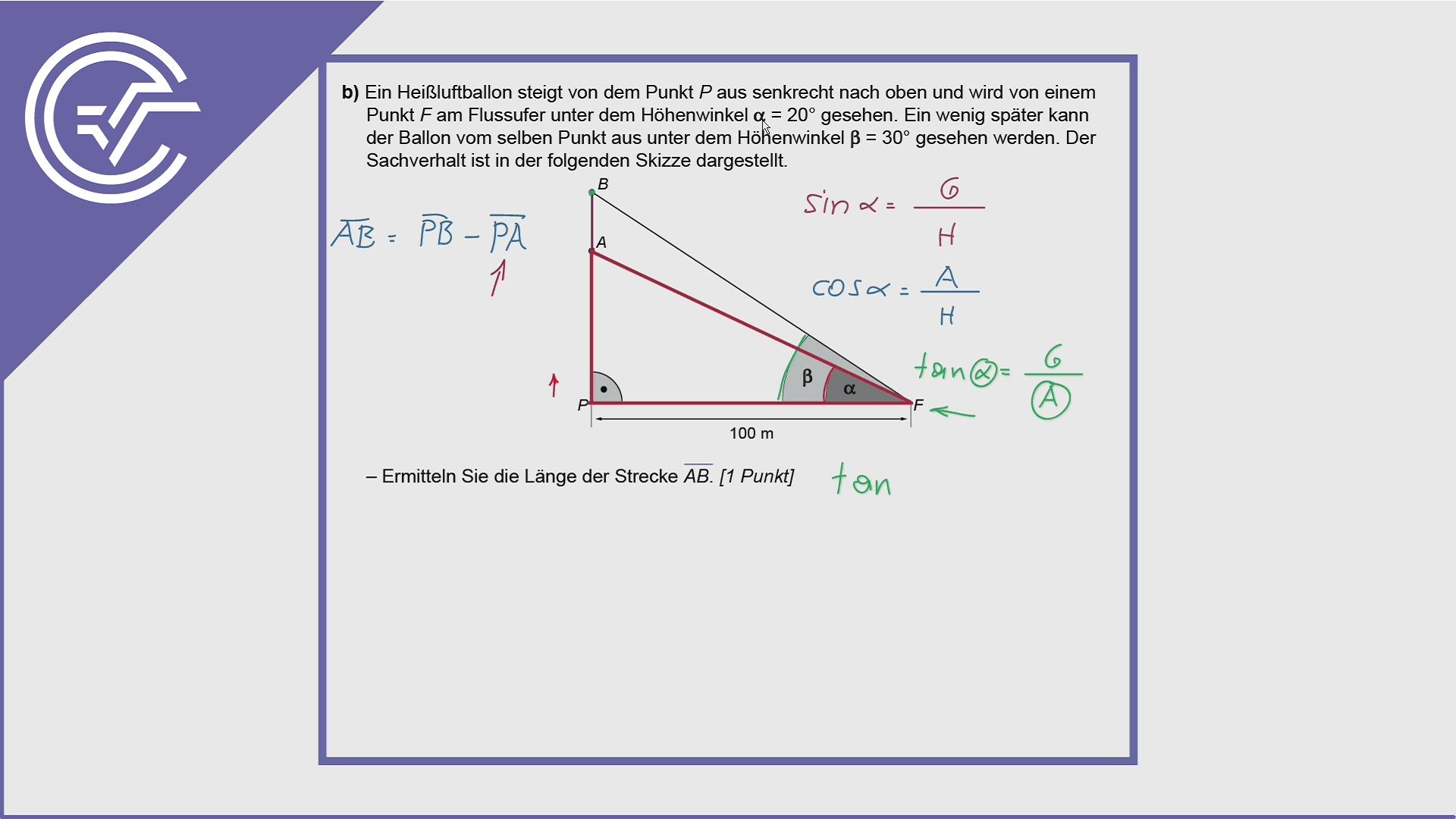 BHS Zentralmatura Aufgabe 6b - Trigonometrie