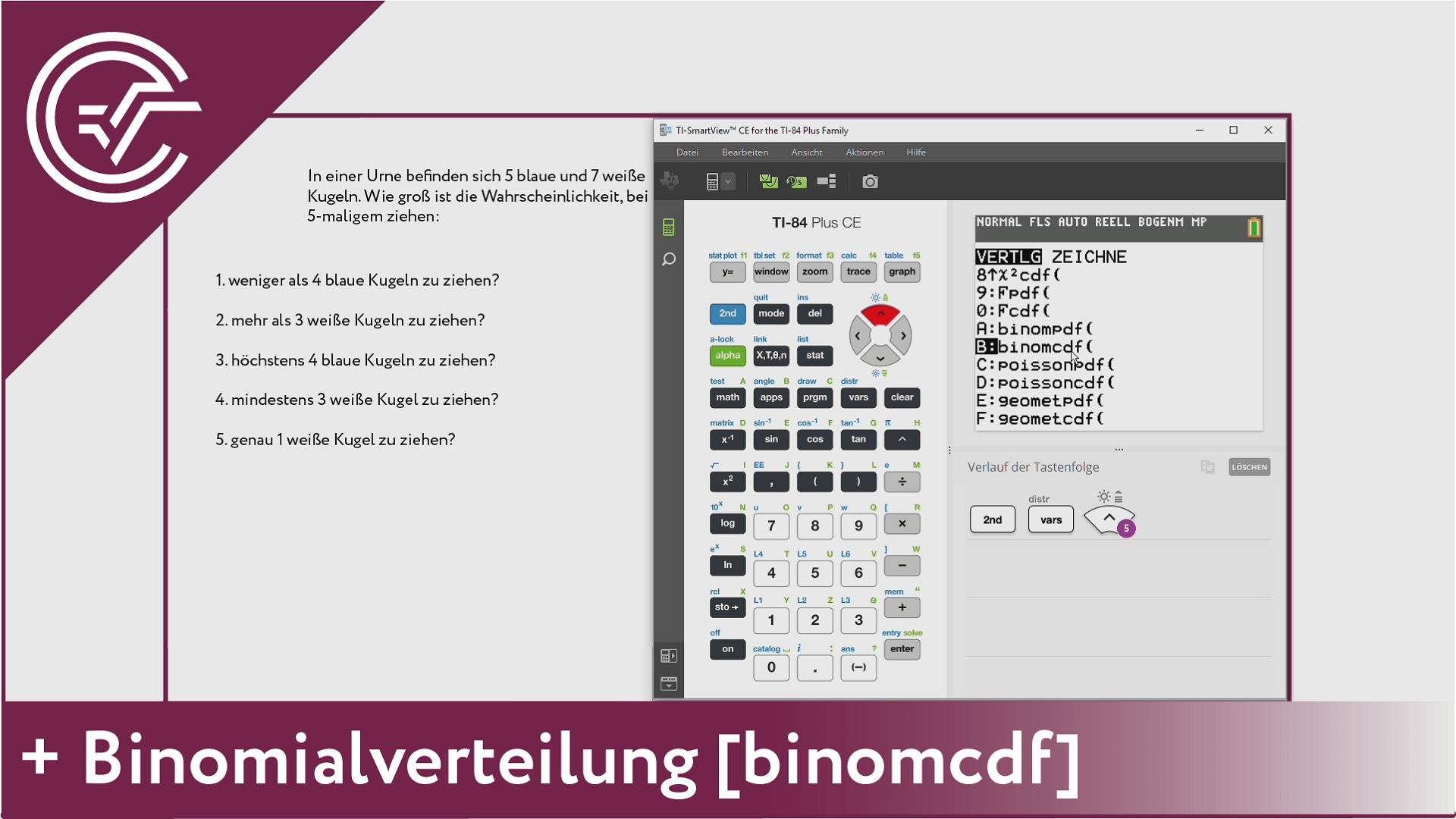 12. Binomialverteilung - binomcdf [TI-84/83/82]