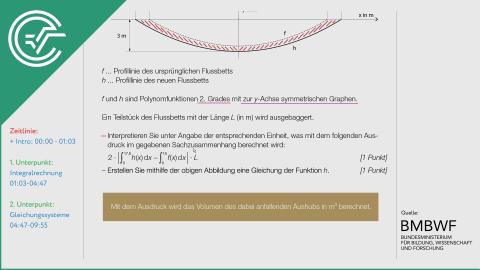 A_266 Flussläufe und Pegelstände b [Integrale + Gleichungssysteme]