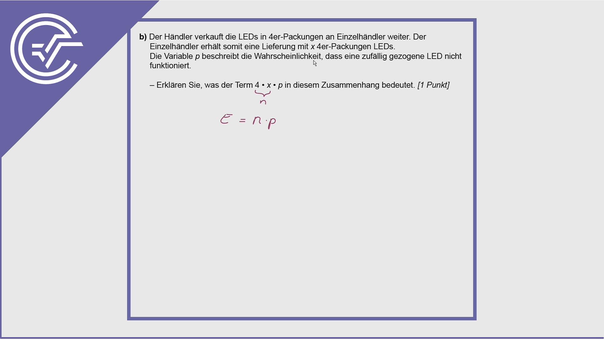 BHS Zentralmatura Aufgabe 5b - Erwartungswert verstehen