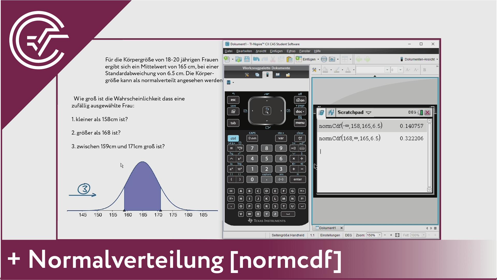 8. Normalverteilung - normcdf [TI-Nspire]