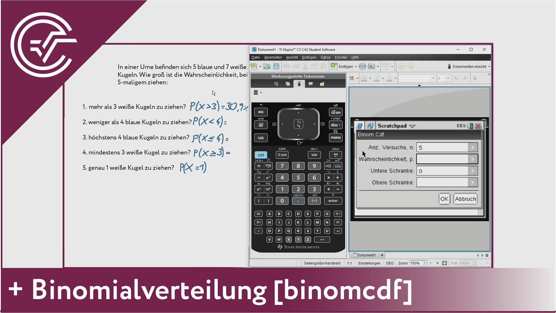 11. Binomialverteilung - binomcdf [TI-Nspire]
