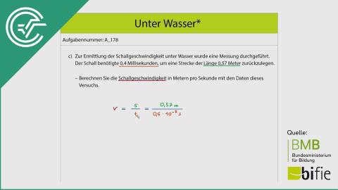 A_178 Unter Wasser c [Weg-Zeit Physik Beispiel]