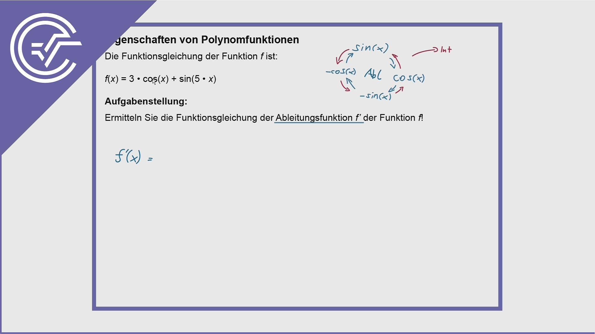 AHS Zentralmatura Aufgabe 14 - Sinus + Cosinus ableiten