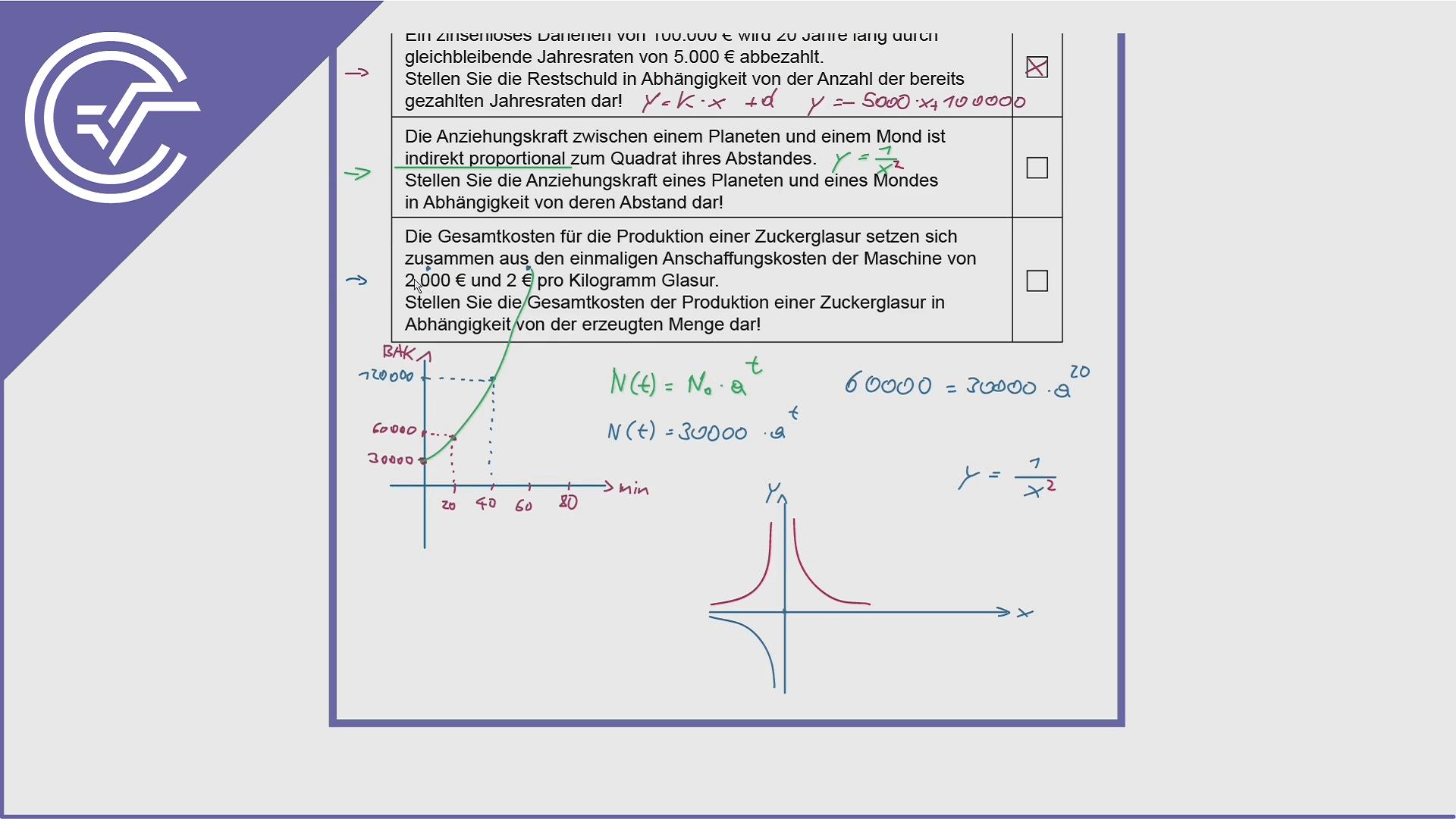 AHS Zentralmatura Aufgabe 8 - Lineare Funktionen