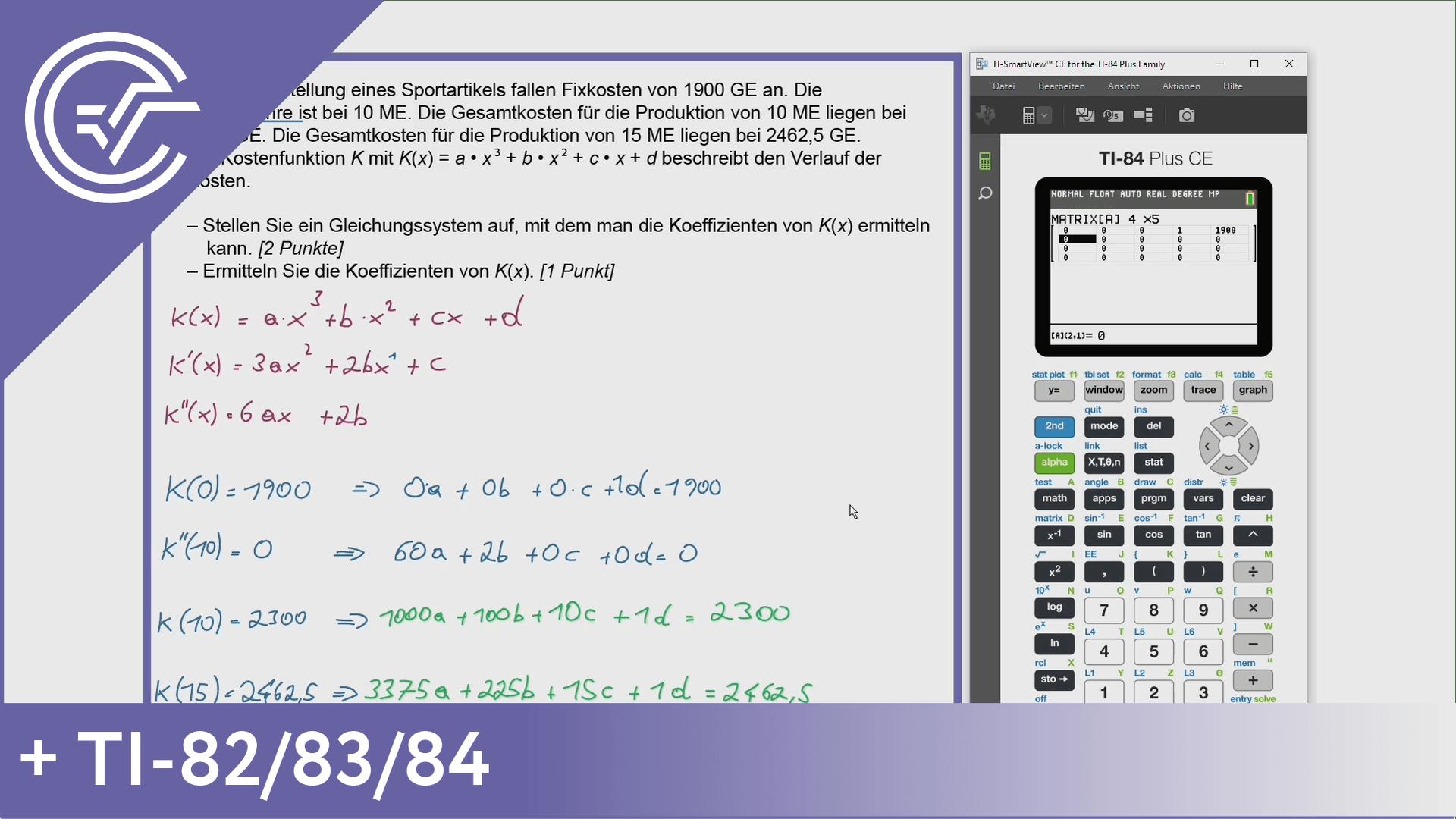 Teil-B - Cluster 6 - 7b Gleichungssysteme mit dem TI-82/83/84