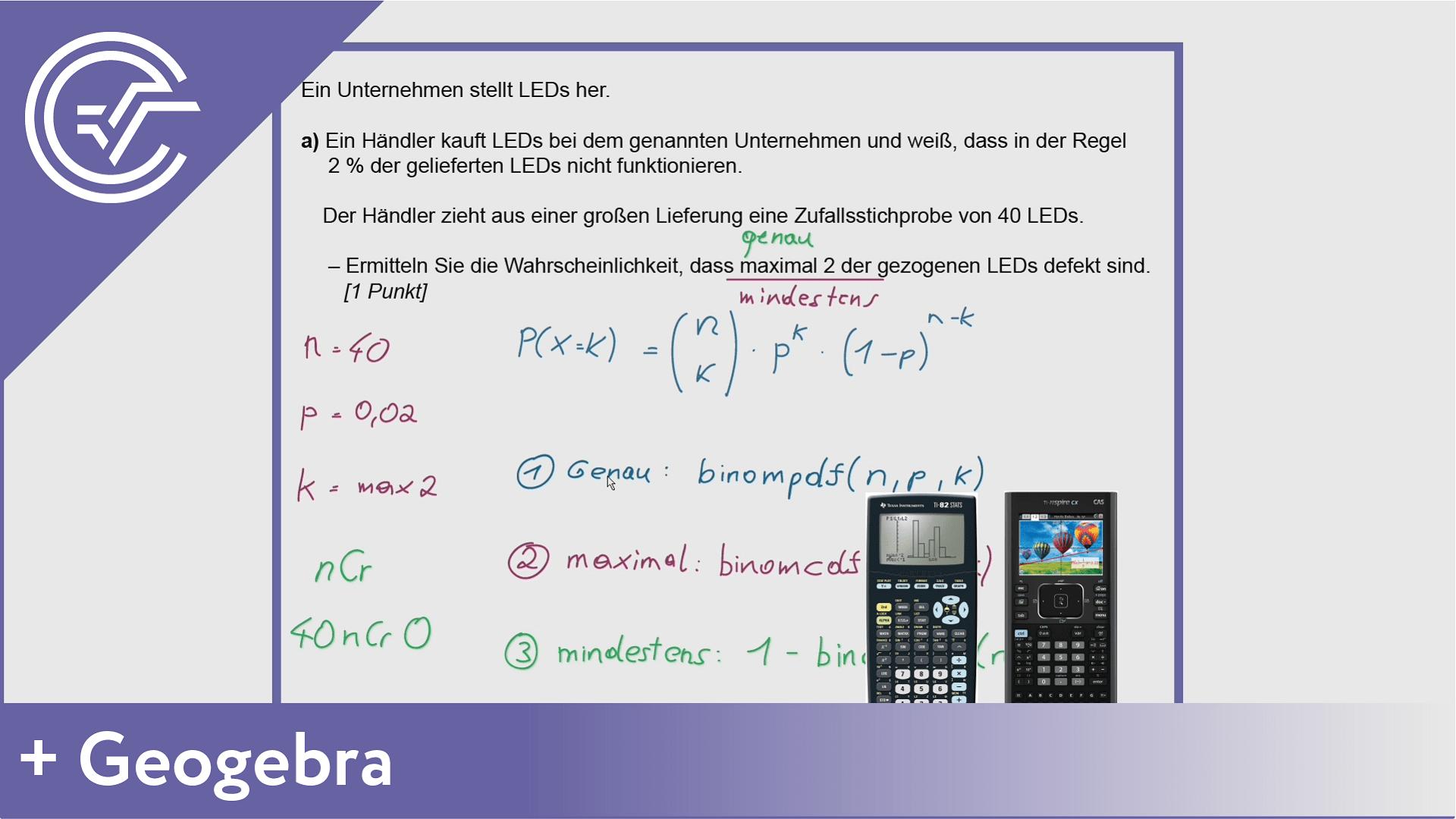 BHS Zentralmatura Aufgabe 5a - Binomialverteilung Crashkurs