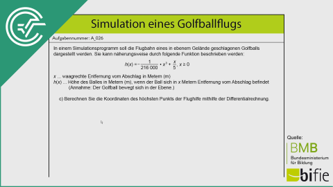A_026 Simulation des Golfballflugs c [Differentialrechnung]