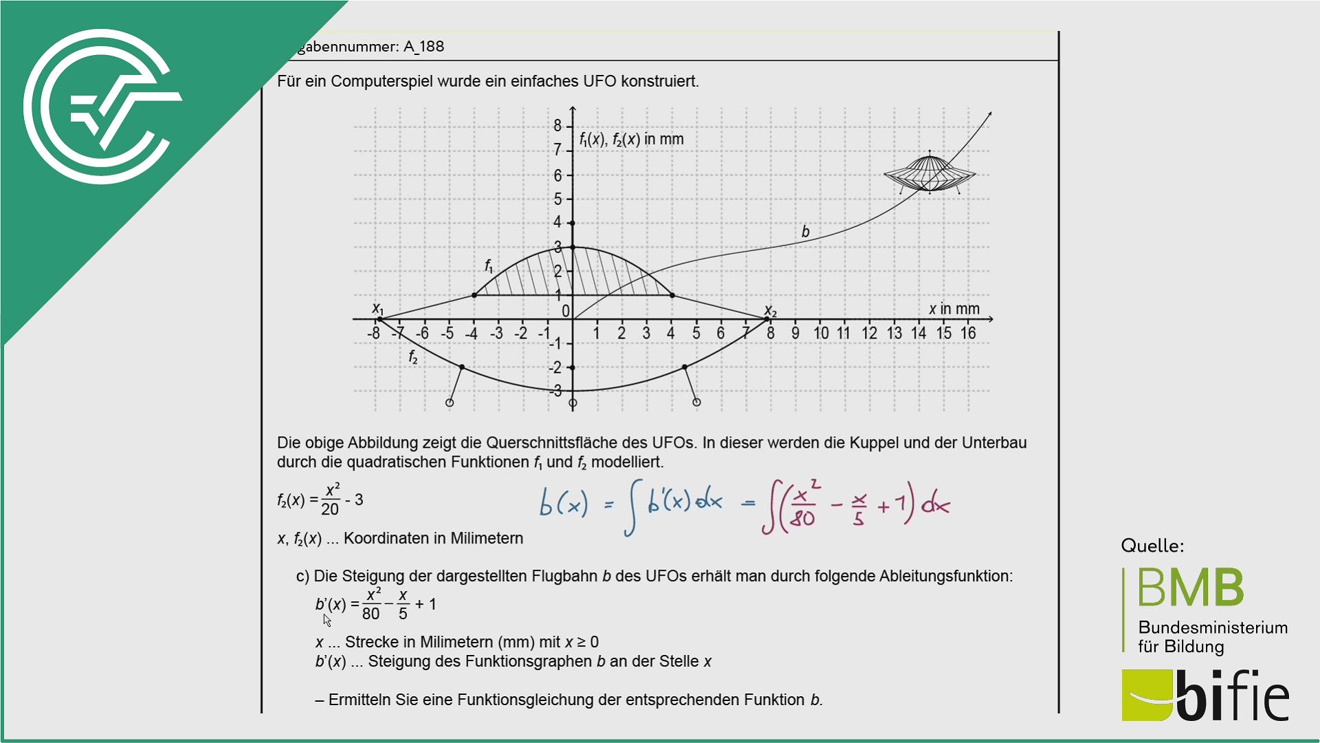 A_188 UFO c [Stammfunktion + Wendepunkt]