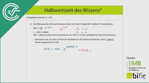 A_159 Halbwertszeit des Wissens* c [Exponentialfunktionen]