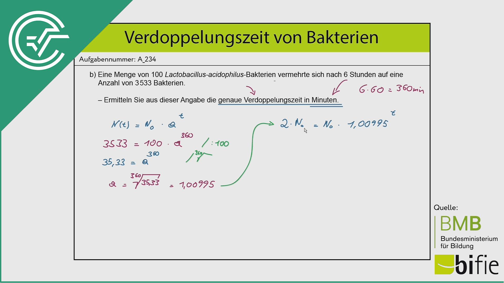 A_234 Verdopplungszeit Bakterien b [Wachstumsfaktor]
