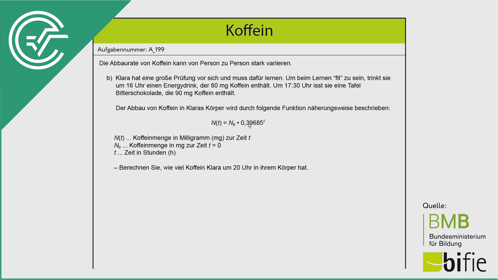 A_199 Koffein b [Exponentialfunktion]