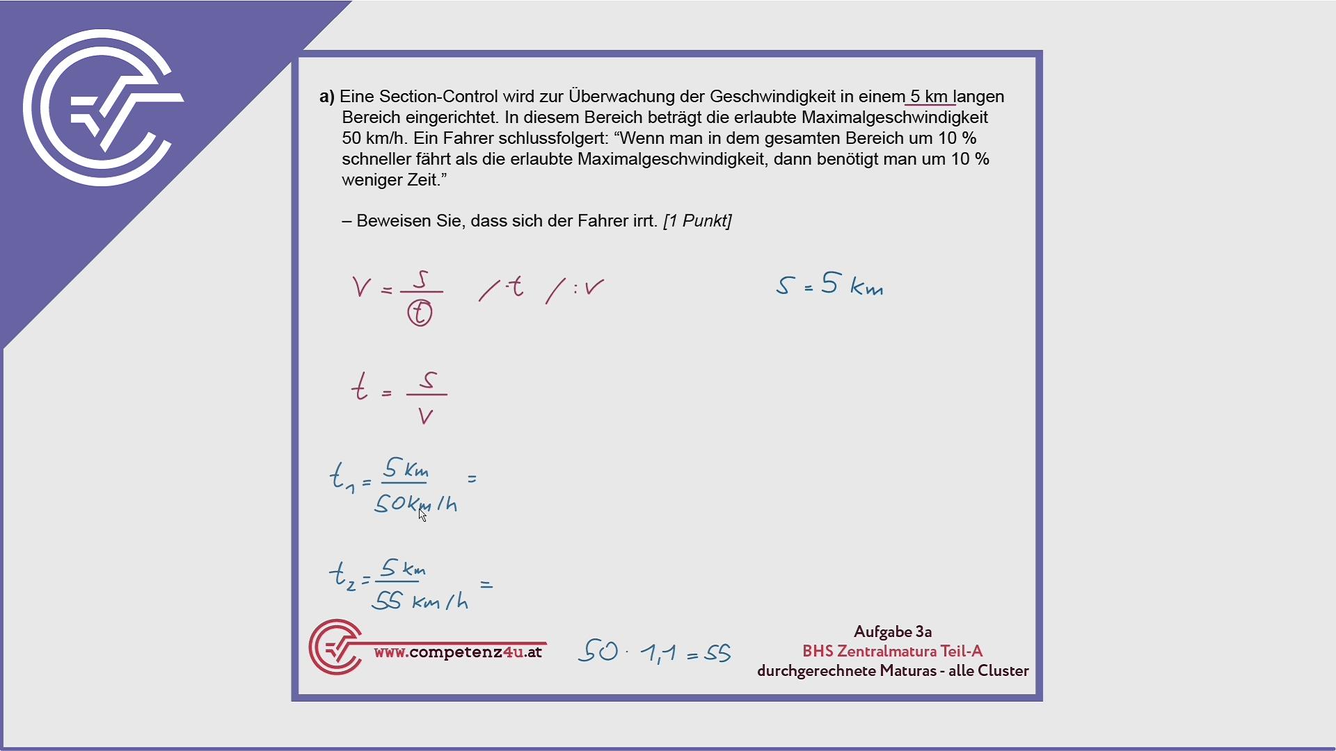 BHS Zentralmatura Aufgabe 3a - Geschwindigkeits-Zeit-Funktion