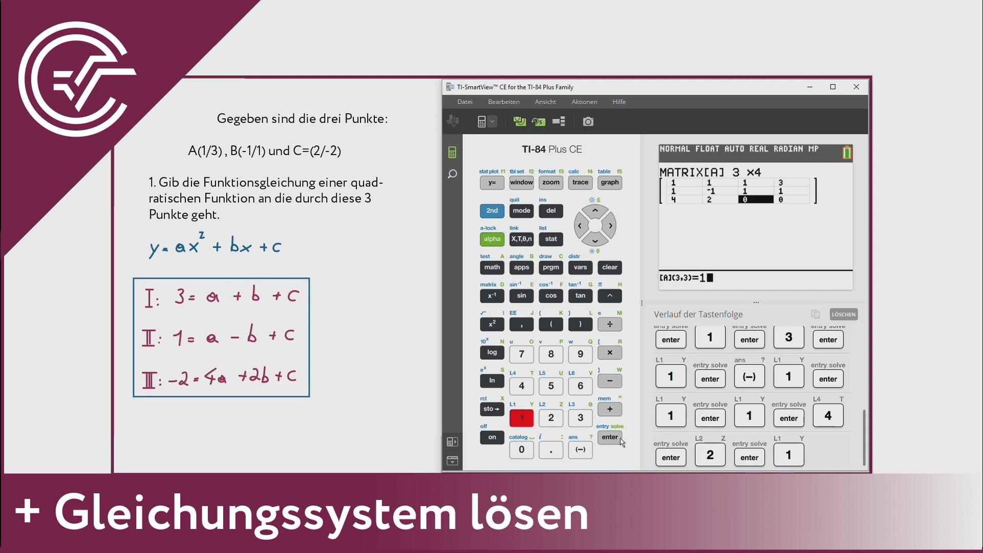 6. Gleichungssysteme lösen [TI-84/83/82]