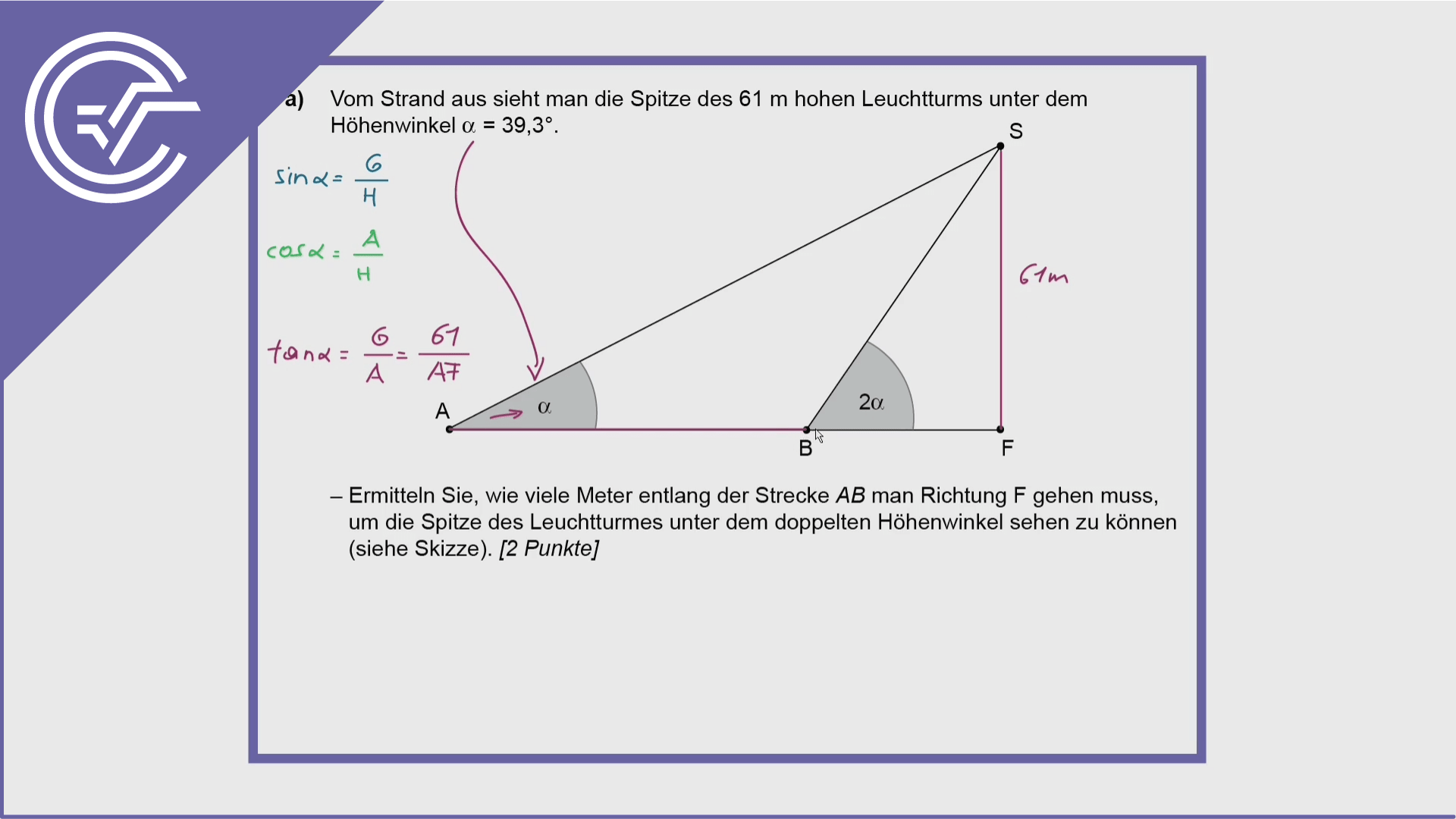 Zentralmatura Aufgabe 5a - Dreiecke berechnen