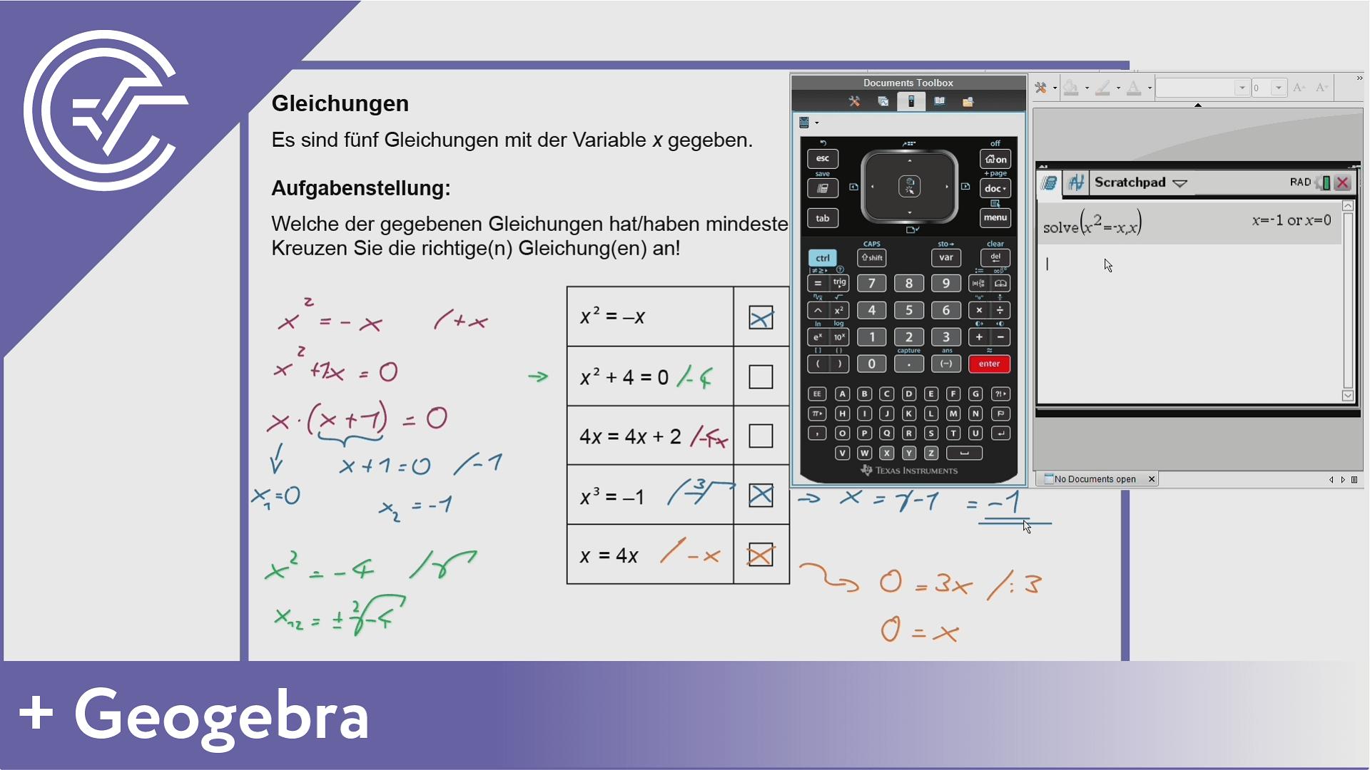 AHS Zentralmatura Aufgabe 1 - Gleichungen lösen